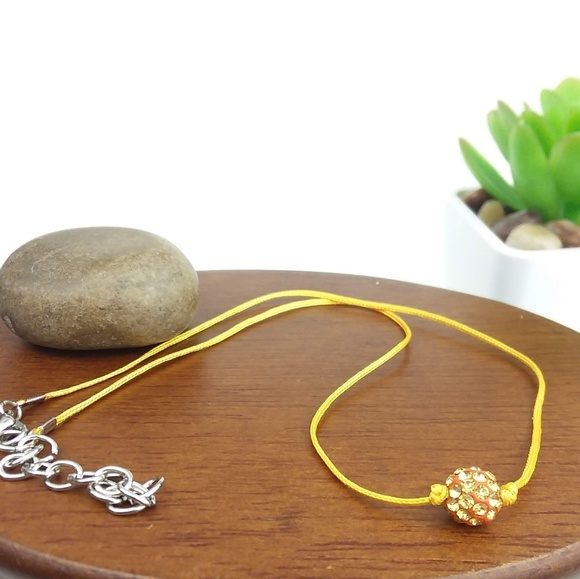 5720be65a2008 Yellow Rhinestone Bead Yellow Cord Choker Necklace Boutique